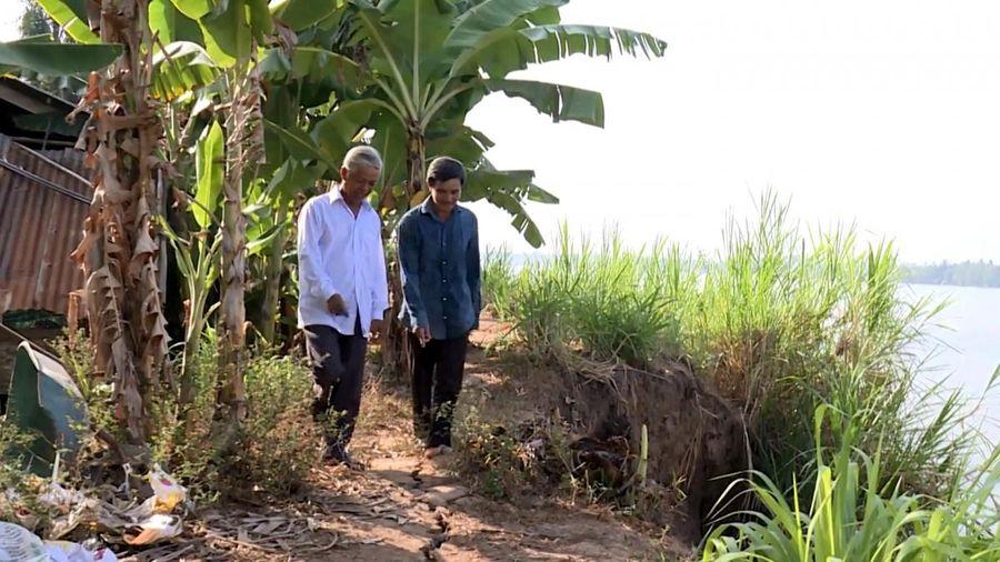 Nhiều đoạn đê bao ven sông ở Trà Vinh bị sạt lở nghiêm trọng