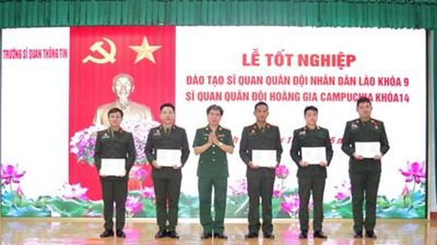 Tổ chức lễ tốt nghiệp đào tạo sĩ quan Quân đội nhân dân Lào và Quân đội Hoàng gia Campuchia năm 2021