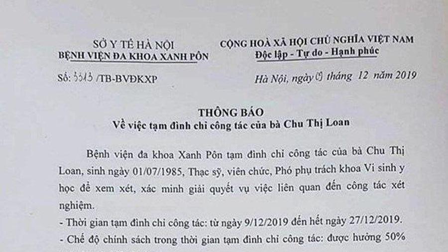 Đình chỉ 3 nhân viên Bệnh viện Xanh Pôn vì gian lận trong xét nghiệm
