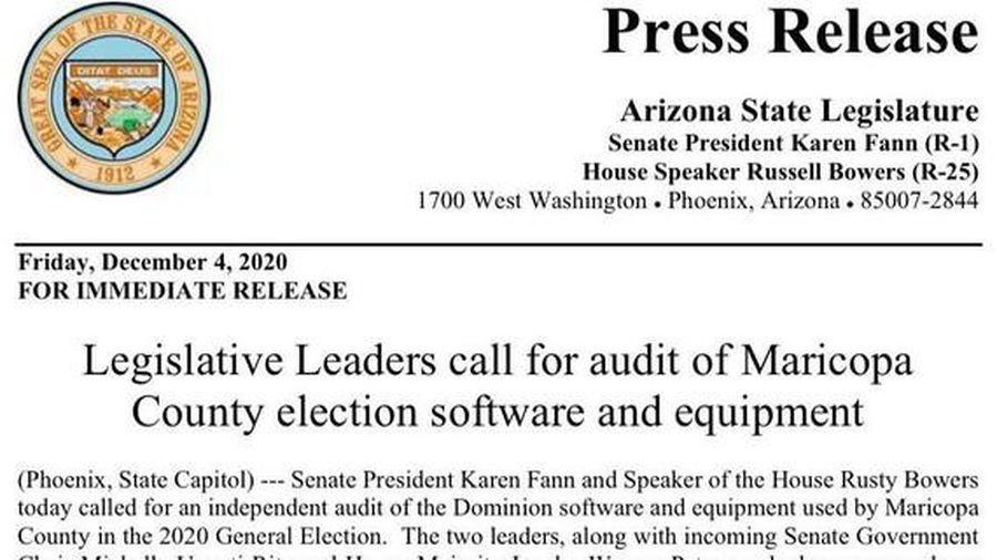 Nghị viện Arizona yêu cầu kiểm tra thiết bị bỏ phiếu của Hạt Maricopa